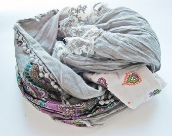 Grey Scarf, Long scarves, Cotton Lace Scarf, Boho Trendy scarf, Teen gifts, Patchwork Scarf, handmade scarf, Unique Scarf, Grey Fabric lace