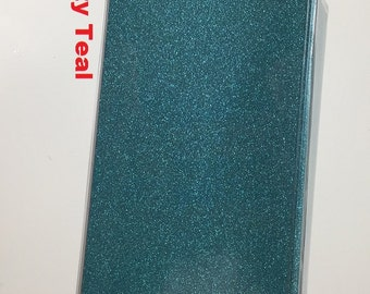 Vinyl Checkbook cover, Glitter Dusty Teal / Turquoise, Scrapbook style,Duplicate or Single Checks, No wait Ready to Ship
