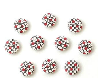 10 wooden 15mm spotty Buttons in red, white and black