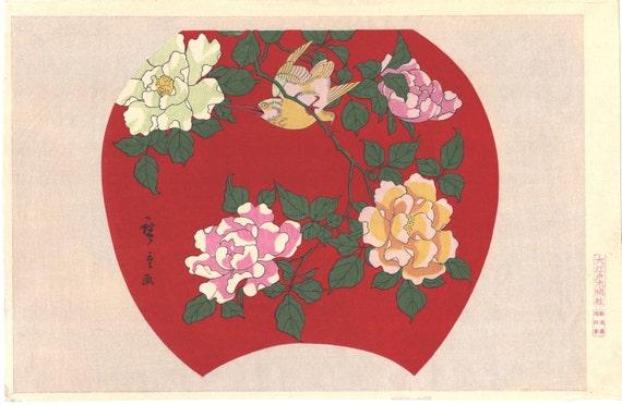 """Japanese Ukiyoe, Woodblock print, Hiroshige, """"Rose"""""""
