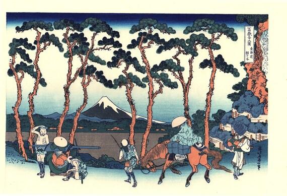"Japanese Ukiyo-e Woodblock print, Katsushika Hokusai, ""Hodogaya on the Tōkaidō, from the series Thirty-six Views of Mount Fuji"""