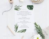 Printable Wedding Menu Printable - Modern Tropical Foliage Wedding Menu Download - Printable Menu PDF - Letter or A4 Size (Item code: P402)