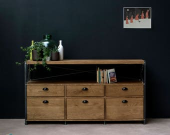 Oak INDUSTRIAL 6 Drawer TV Stand, Console Drawers [Bespoke sizes!] Rustic Reclaimed