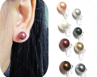8mm Comfortable clip-on earrings |10A| Simple Shell Pearl clip on earrings Invisible clip on stud bridal clip on wedding clip on earrings