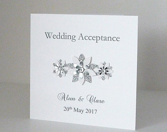 Wedding Acceptance Card Personalised and Handmade Other colours Available