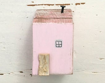 Pink Miniature Wood House, Miniature House, Miniatures, Tiny House, Small House, Reclaimed Wood House, New Home gift, Birthday Gifts Her,