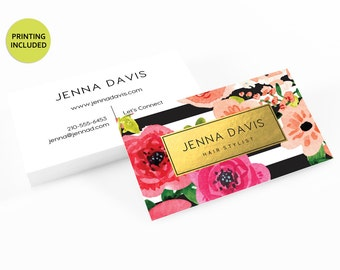 Faux Gold Floral Business Cards - printed business card,cards,printing,black and white,lipsense,plexus,mary kay,hair,makeup,stylist,lularoe