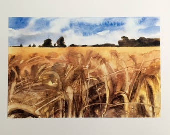 Wheatfield, English countryside, Landscape watercolor, Landscape print, English landscape, Kent UK, British countryside, British landscape