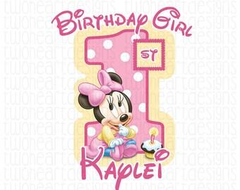 Minnie First Birthday Polka Dot Iron On - Digital - You Print