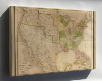 Canvas 24x36; Map Of The United States Of America 1839