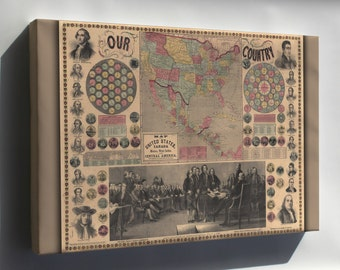 Canvas 24x36; Map Of The United States, Canada, Mexico, West Indies And Central America 1859