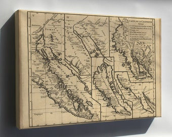Canvas 24x36; Map Of Five Views Of California 1770