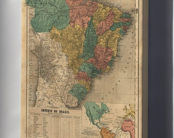 Canvas 24x36; Map Of Brazil 1868 In Portuguese
