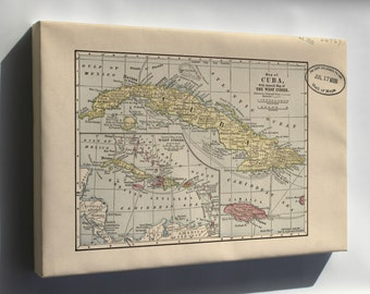 Canvas 24x36; Map Of Cuba & West Indies 1899