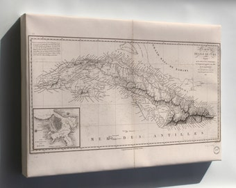 Canvas 24x36; Carte De L'Ile De Cuba Map 1820