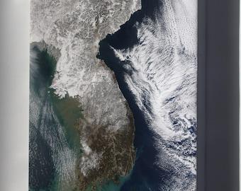 Canvas 16x24; Satellite Image Map China, North Korea,  Parts Of South Korea