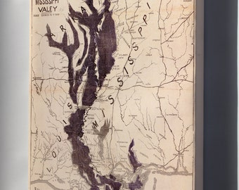 Canvas 16x24; Map Flooded Areas Mississippi River Valley 1874