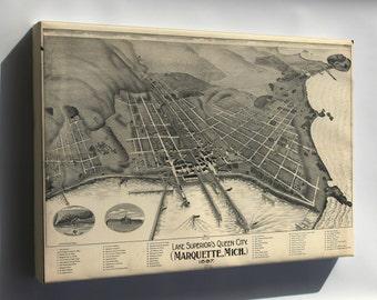 Canvas 16x24; Map Of Marquette, Michigan 1897