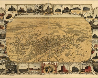 16x24 Poster; Map Of Fresno, California 1901