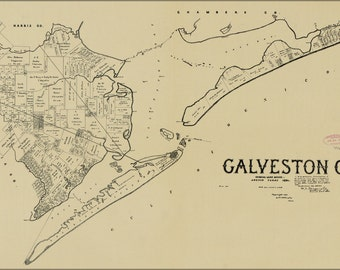 16x24 Poster; Map Of Galveston Co. Texas 1892
