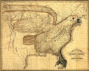 16x24 Poster; Eagle Map Of The United States 1833
