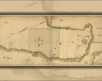 16x24 Poster; Map Of Crown Point & Part Of Lake Champlain 1768