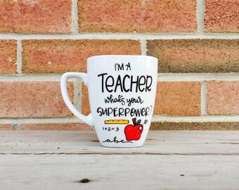 Gifts for teacher Teacher Mug. Hand Painted Mug. Teacher Graduation Gift, Teacher Gift