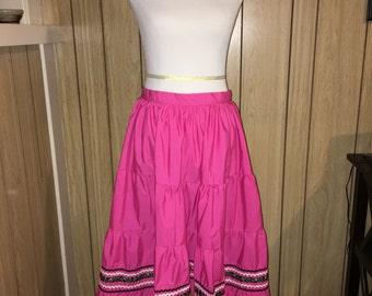 Hot pink handmade patio/squaw style skirt.