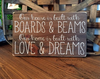 "Our House is built with Boards and Beams, Our Home is built with Love and Dreams (12"" x 7.25"")"