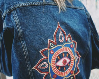 "Hand Embroidered ""All Seeing Eye"" Jacket"