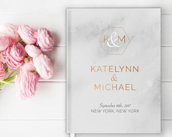 Modern Marble Wedding Guest Book, Wedding Guestbook, Custom Wedding Guestbook, Personalized Wedding Guest Book, Copper, Geometric, Marble