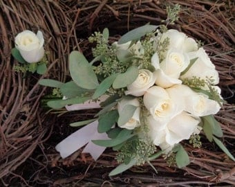 White Rose and Seeded Eucalyptus wedding bouquet, Rose bouquet, wedding bouquet, bridal bouquet, white wedding, Ivory wedding, white roses