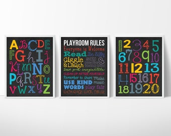 Playroom Rules Set of 3   Playroom Decor   Playroom Sign   Playroom Wall Art   Playroom Poster   Playroom Print   Classroom Decor for School