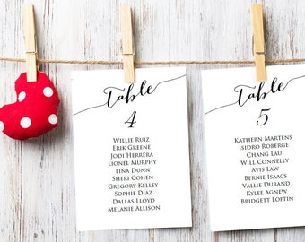 Seating Chart Cards, Seating Plan Cards, Table Plan Cards, Table Cards Wedding, Table Cards Template, Table Cards, Wedding Seating Chart 3x5