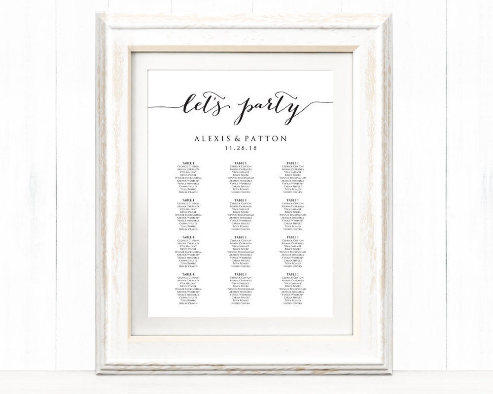 Let\'s Party Wedding Seating Chart Template in FOUR Sizes, Wedding ...