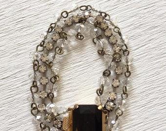 Rhinestone Bracelet, Crystal Bracelet, Vintage Clasp, Sparkle Bracelet, Sparkly Bracelet, Vintage Clasp, Vintage Rhinestones, Crystal Beads