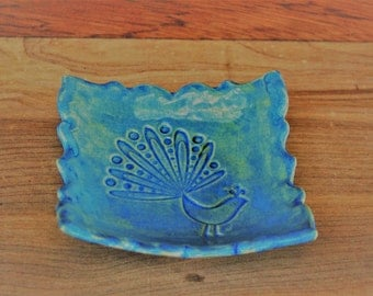 Peacock ring dish, for bridesmaid, wedding favor, ring holder, teabag holder, prom, bride