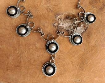 Vintage necklace - Silver Metal -  Round