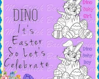 Digital stamp colouring image - Dino Easter Baby Bunny Boy/Girl. jpeg / png