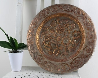 Vintage copper platter antique handmade Processed noble Gorgeous Pattern Made in France