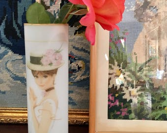 70's vintage retro japanese white frosted glass vase Audrey Hepburn style
