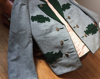 Vintage wool Jacket/Grey/Austrian Thalhammer/Size:Medium