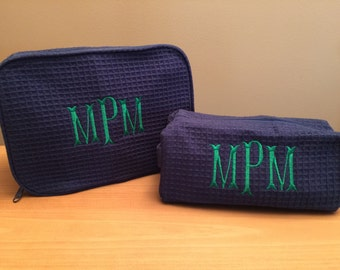 Monogrammed Cosmetic Cases - Monogram Make Up Bag Set - Monogrammed Make-Up Bags - Two Cosmetic Bags - Set of 1 Large and 1 Small Size Bags