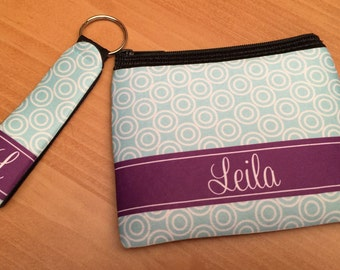 Personalized Coin Purse and Small Keyfob – Monogrammed Coin Purse and Key Chain - Monogrammed Key Ring - Monogrammed Keyfob