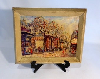 Cardboard framed print of Paris – original from the 1960s