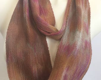 Hand-dyed, handwoven, skinny infinity scarf, Tencel, in shades of mauve, mulberry, brown, mint green, and golden brown -LIS33