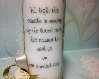 Wedding Memorial Candle/  ribbon and flowers