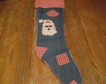 """Vintage Christmas Stocking - Santa Claus - Blue Jean and Red & White Plaid - 24"""" Long - 1970's Never Used"""