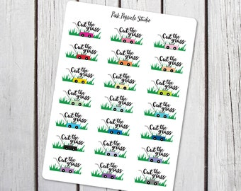 Cut the Grass - Mow the Lawn Planner Stickers Designed for Erin Condren Life Planner