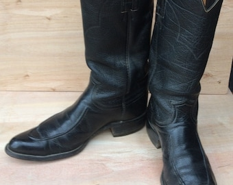vintage boots,sz  8 D men or 10 women  vintage JUSTIN ROPERS flat black leather mid calf boots